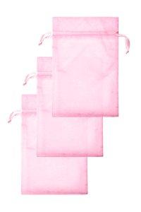 Chiffonbeutel rosa 15 x 24 cm - 3er Pack