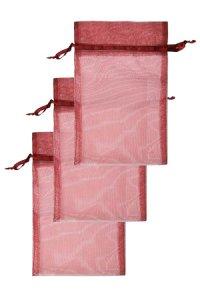 Chiffonbeutel weinrot 15 x 24 cm - 3er Pack
