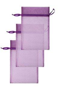 Chiffonbeutel lila 15 x 24 cm - 3er Pack