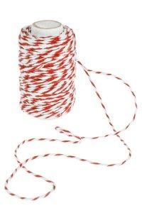 Baumwollkordel 25 m, 2 mm weiß/rot