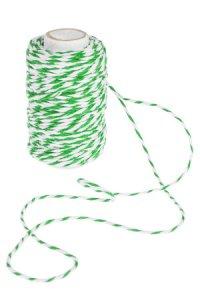 Baumwollkordel 25 m, 2 mm weiß/grün