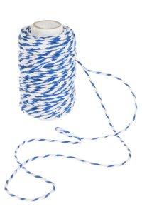 Baumwollkordel 25 m, 2 mm weiß/blau