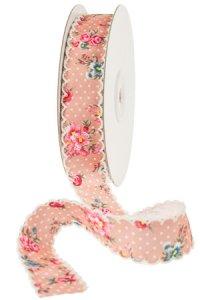 Stoffband  10 m, 25 mm Blumen rosa