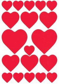 Schmucketiketten Herzen rot