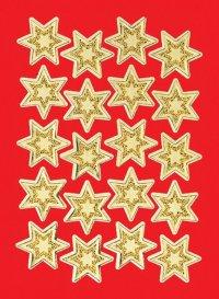 Schmucketiketten Sterne gold beglimmert 21 mm