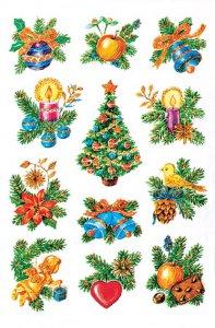 Weihnachtsetiketten Weihnachtsgestecke beglimmert