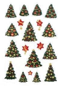 Weihnachtsetiketten Geschmückter Baum rot/gold