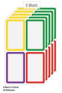 Etiketten Rahmen in 4 Farben