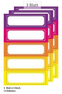 Etiketten Rahmen in 5 warmen Farben