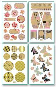 Kraftpapier-Sticker Romantik, ca. 10 x 16 cm, 8 Blatt, 4 Motive