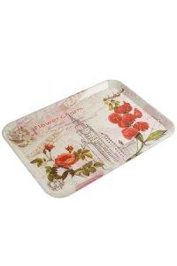 Tablett Rote Blumen 405 x 290 mm