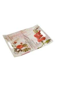 Tablett Rote Blumen 320 x 210 mm