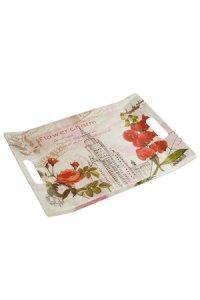 Tablett Rote Blumen 380 x 270 mm