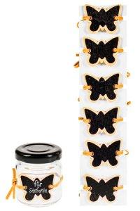 Notiztafel zum Anbinden Schmetterling orange, 6er Pack