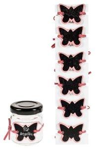 Notiztafel zum Anbinden Schmetterling rosa, 6er Pack