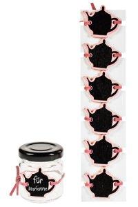 Notiztafel zum Anbinden Teekanne rosa, 6er Pack