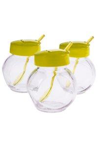 Glas mit Klappe & Löffel 200 ml, 3er Set, gelb