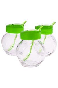 Glas mit Klappe & Löffel 200 ml, 3er Set, grün