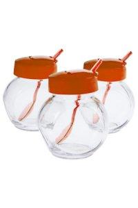 Glas mit Klappe & Löffel 200 ml, 3er Set, rot