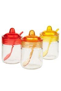 Glastopf mit Löffel 200 ml, 3er Set, gelb/orange