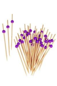 Bambusstäbchen lila Kugel, 36 Stück