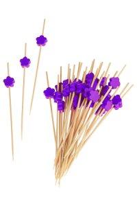 Bambusstäbchen lila Blume, 36 Stück