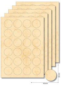 Etiketten rund 40 mm beige marmoriert - 20 Blatt A4
