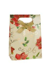 Geschenktasche Weihnachtsstern creme mit Schleife, 11,5 x 6 x 16 cm