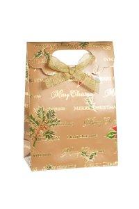 Geschenktasche Merry Christmas gold mit Schleife, 11,5 x 6 x 16 cm