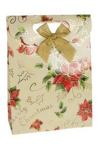 Geschenktasche Weihnachtsstern creme mit Schleife, 18 x 8 x 24,5 cm