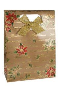 Geschenktasche Merry Christmas gold mit Schleife, 18 x 8 x 24,5 cm