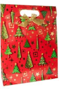 Geschenktasche Tannen und Sterne rot mit Schleife, 25 x 8,5 x 33 cm