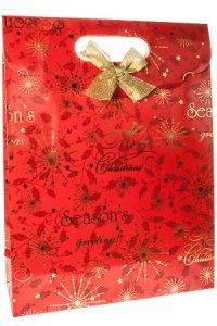 Geschenktasche Stechpalme rot mit Schleife, 25 x 8,5 x 33 cm