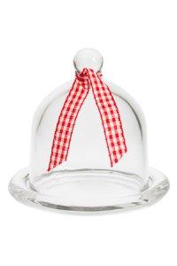 Miniglashaube mit Teller und Dekoband