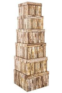 Geschenkbox-Set Holzdekor quadratisch, 6-teilig