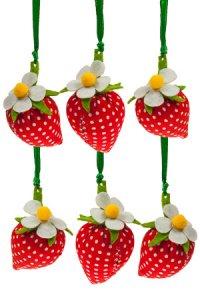 Erdbeeranhänger aus Stoff,  6er Pack