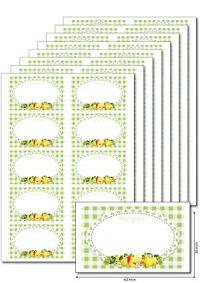 Etiketten 63 x 38 mm Früchte grün, 80 Stück, A5
