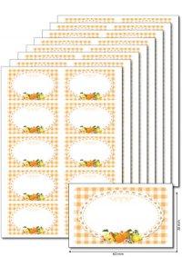 Etiketten 63 x 38 mm Früchte orange, 80 Stück, A5