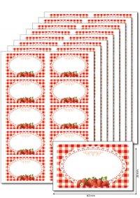 Etiketten 63 x 38 mm Erdbeeren, 80 Stück, A5