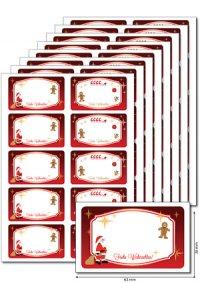Etiketten 63 x 38 mm Weihnachten rot, 80 Stück, A5