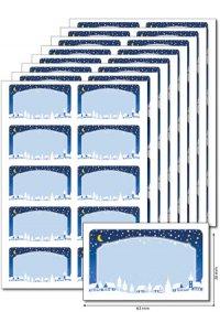 Etiketten 63 x 38 mm Winterlandschaft blau, 80 Stück, A5