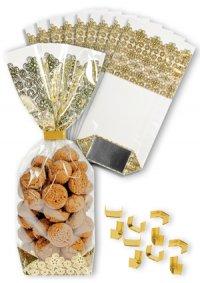 Kreuzbodenbeutel Spitze gold 100 x 220 mm, 10 Stück mit Clips