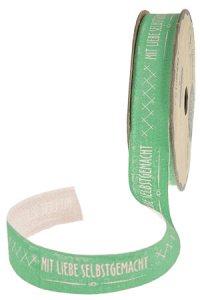 Stoffband   2 m, 15 mm Mit Liebe selbstgemacht grün