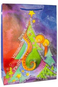 Geschenktüte Weihnachtsbaum Kunst, 25 x 8,5 x 34,5 cm