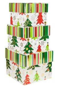 Geschenkboxen Tannenbäume - 3er Set