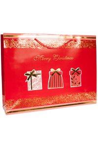 Geschenktasche Merry Christmas rot/gold, 37,5 x 10,5 x 28,5 cm