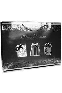 Geschenktasche Merry Christmas schwarz/silber, 37,5 x 10,5 x 28,5 cm