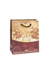 Geschenktasche Goldene Winterstadt, 11 x 6 x 13,5 cm