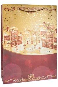 Geschenktasche Goldene Winterstadt groß