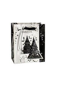 Geschenktasche Frohes Fest mit Bäumen, 11 x 6 x 13,5 cm